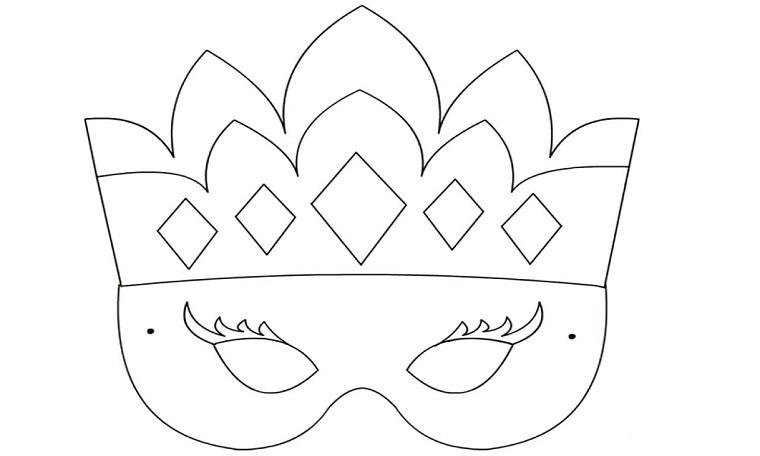 Disegni di carnevale, maschera per bambine, disegno da colorare