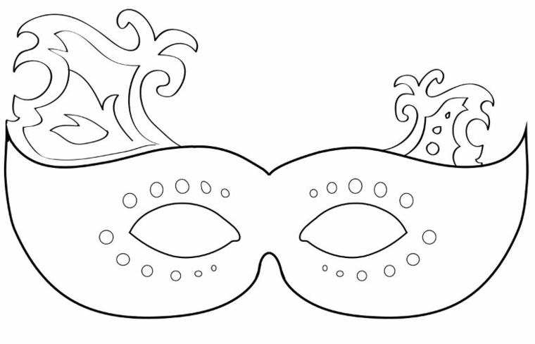 Disegni maschere di carnevale, disegno con ornamenti, travestimento da bambina