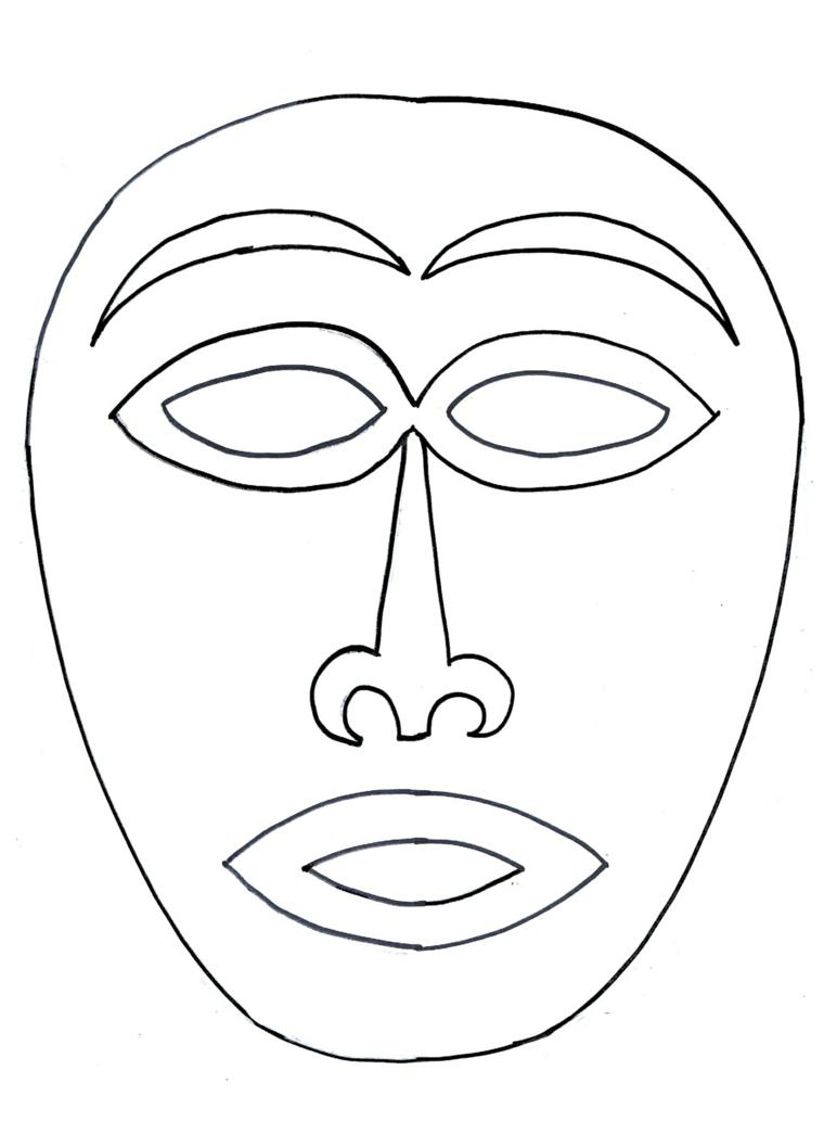 Maschera africana, maschere da colorare, occhi e bocca da ritagliare