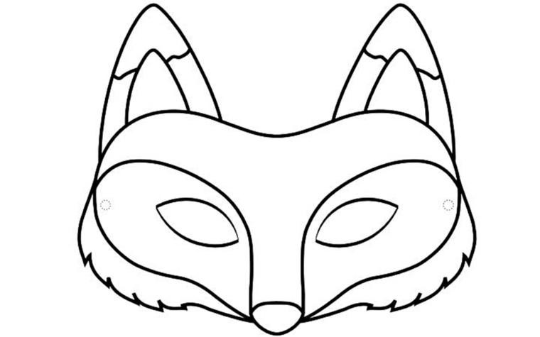 Disegni da colorare carnevale, disegno di una volpe, travestimento per bambini