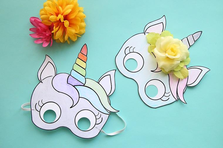 Disegni carnevale da colorare, due maschere per bambini, maschere di unicorno