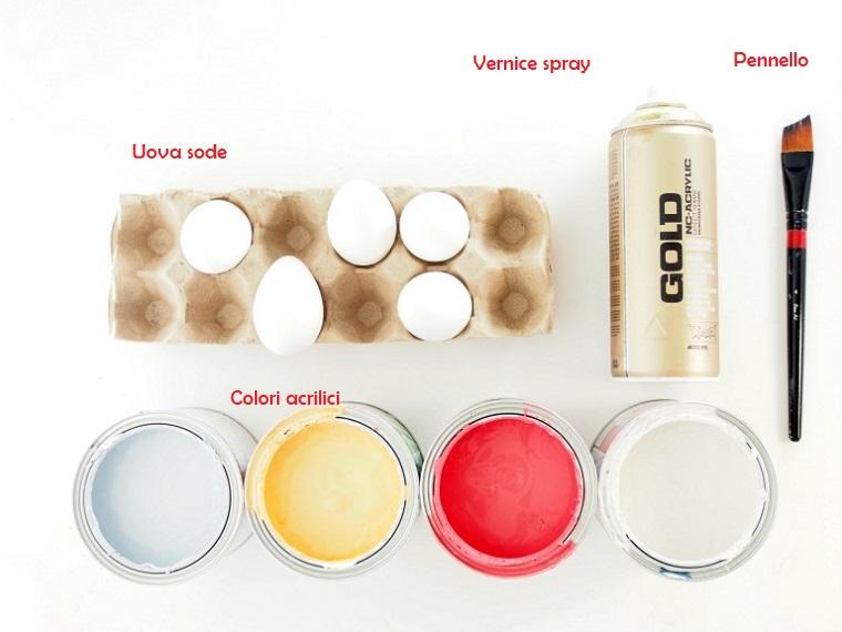 Materiali per decorare uova, colori acrilici, centrotavola pasquali fai da te