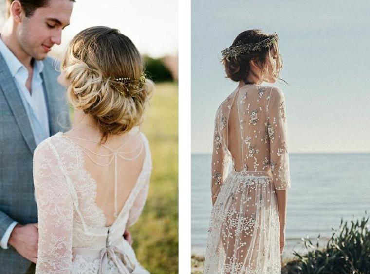 Abito da sposa trasparente, capelli raccolti biondi, abbigliamento sposi
