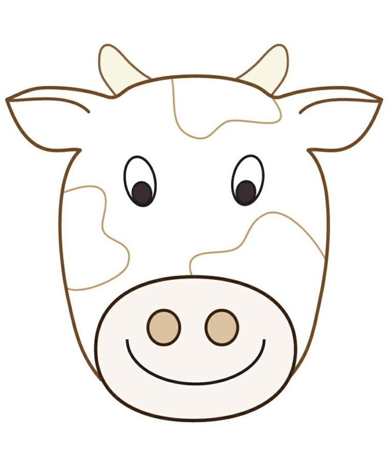 Disegni di carnevale, disegno di una mucca, travestimento con maschere di animali