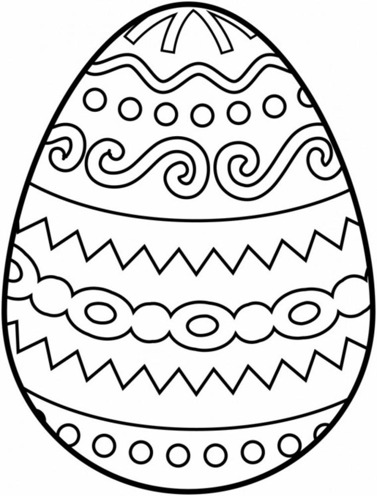 Lavoretti creativi Pasqua, disegno di un uovo, uovo con ornamenti