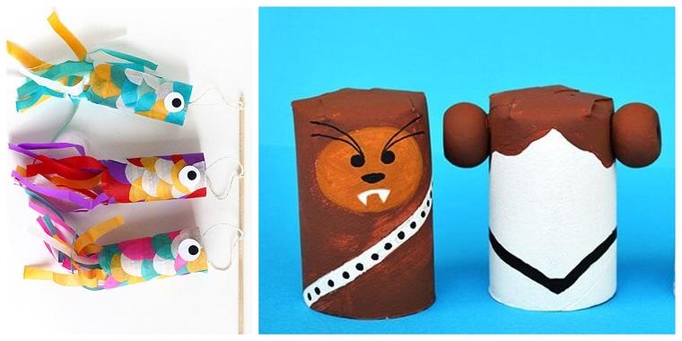 Attività ludiche per bambini, rotoli di carta igienica, pesciolini con carta pesta