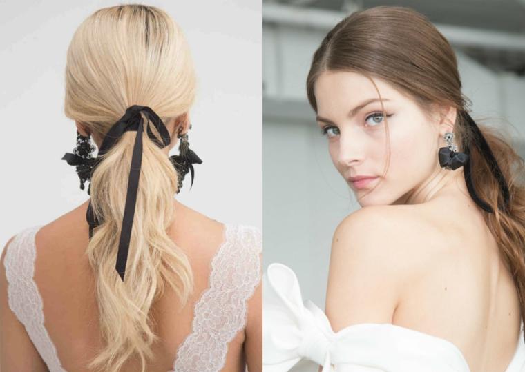 Acconciature capelli raccolti per cerimonia, capelli legati con nastro