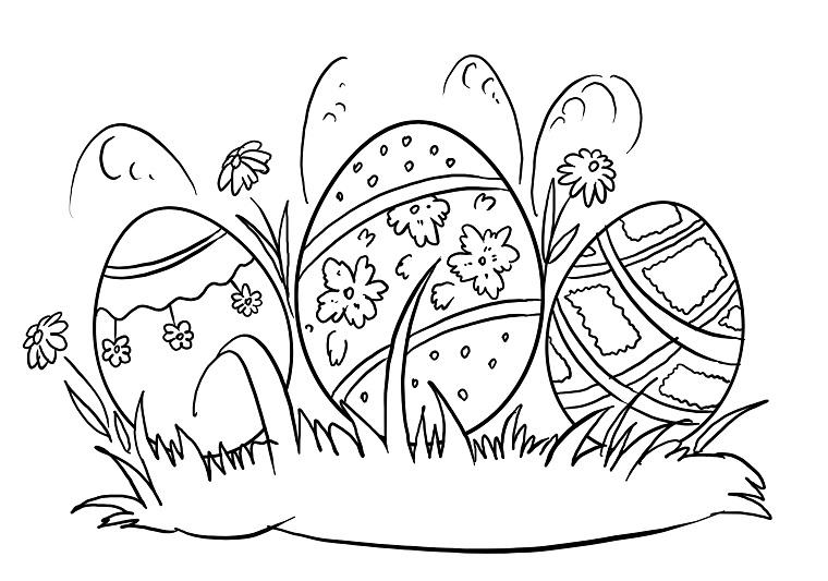 Uova in prato, uova decorate da colorare, immagine da stampare
