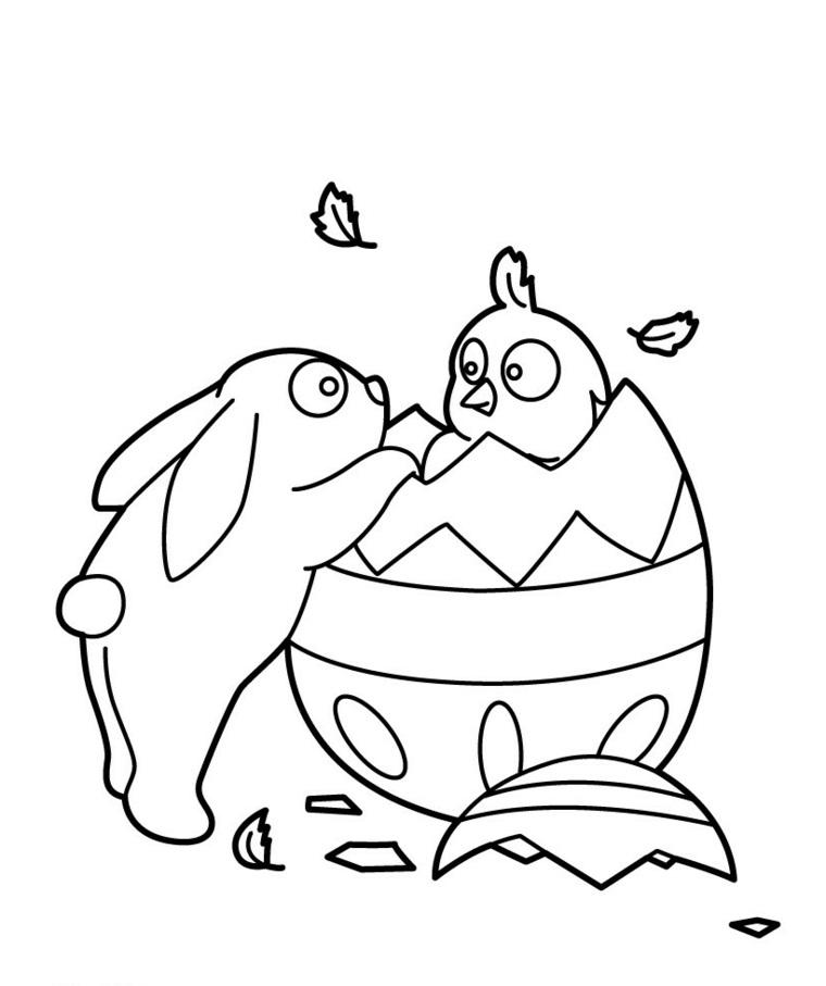 Coniglietto e pulcino, disegni uova di pasqua