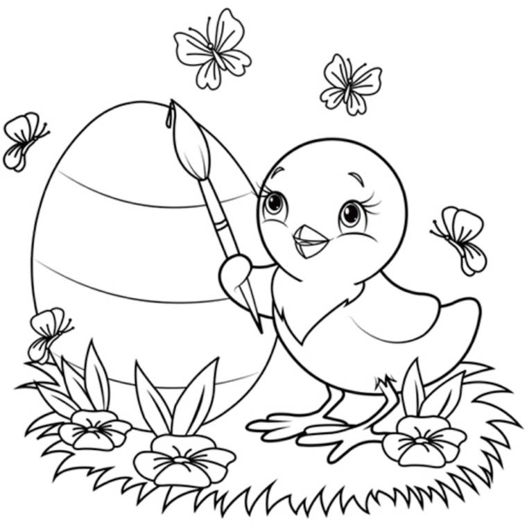 Disegno di un pulcino, immagine da colorare, disegno di un uovo