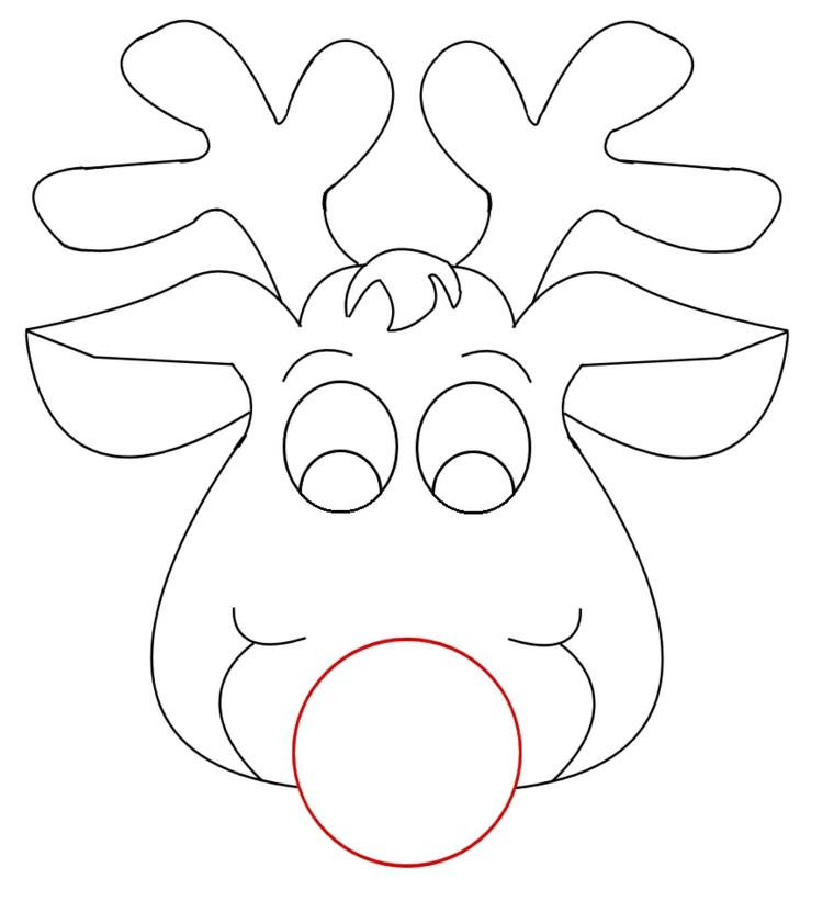 Maschere di carnevale per bambini, disegno di una renna