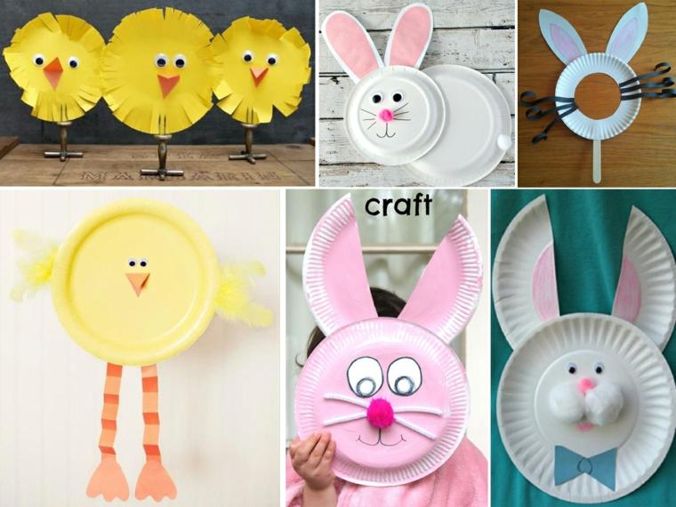 Fai da te con piatti di carta, coniglio pasquale di carta, pulcino giallo di carta