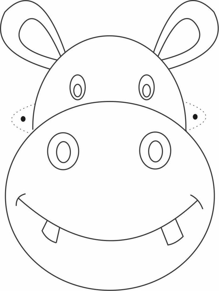 Maschere di carnevale da stampare e colorare, disegno di un animale