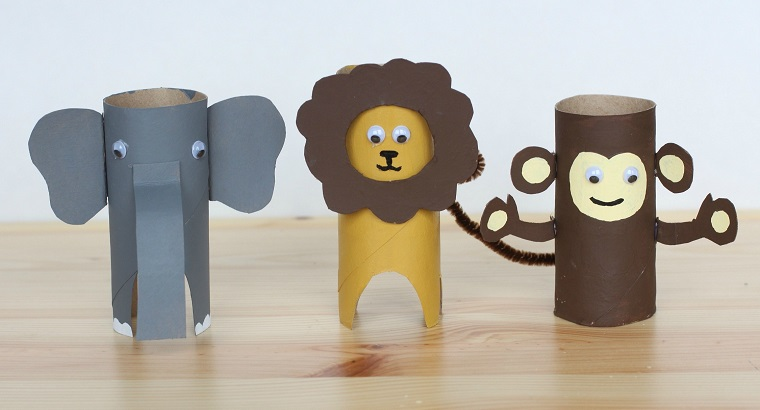 Fai da te con rotoli di carta, animali della savana, attività ludiche per bambini