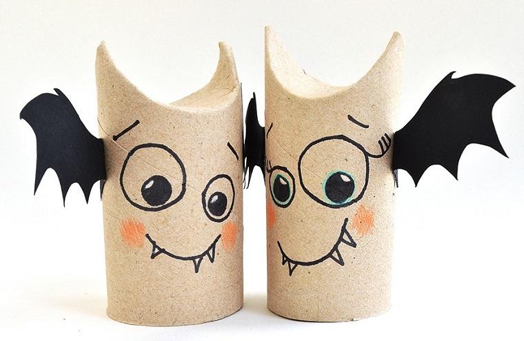 Lavoretti per bambini, rotoli di carta, disegno di pipistrelli