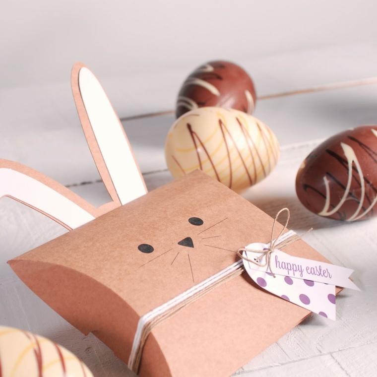 Lavoretti di pasqua scuola primaria, scatola regalo di cartone, disegno coniglio