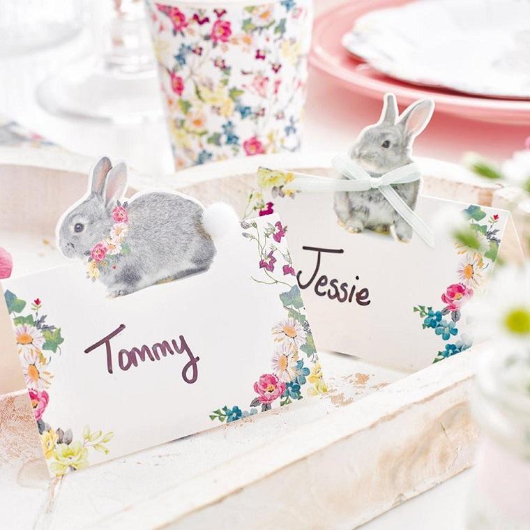 Lavoretti per Pasqua fai da te, segnaposto con coniglietti