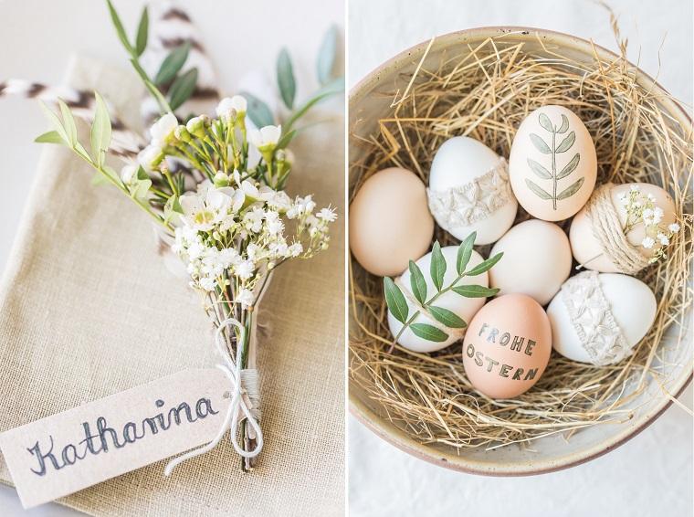 Decorazioni pasquali fai date, piatto con fieno, segnaposto con fiori