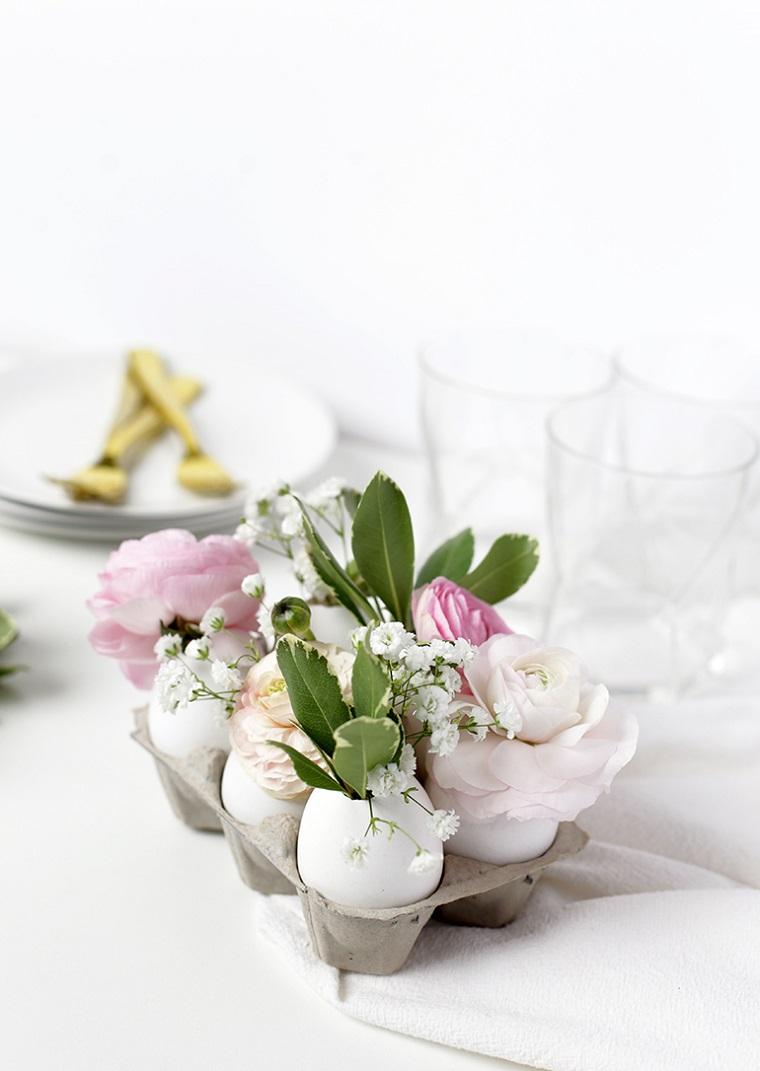 Lavoretti pasquali originali, gusci di uova, gusci con fiori