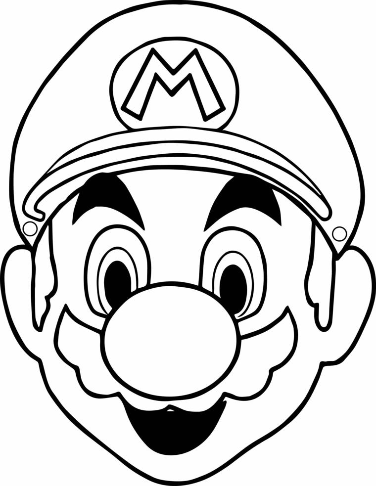 Maschere da ritagliare, disegno di Super Mario, travestimento per carnevale