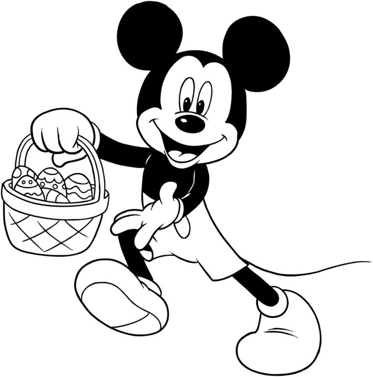 Topolino con cesto, disegno da colorare, cesto con uova pasquali