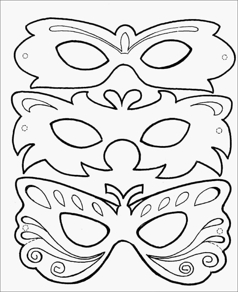 Disegni di carnevale, tre travestimenti con maschere, disegni da colorare