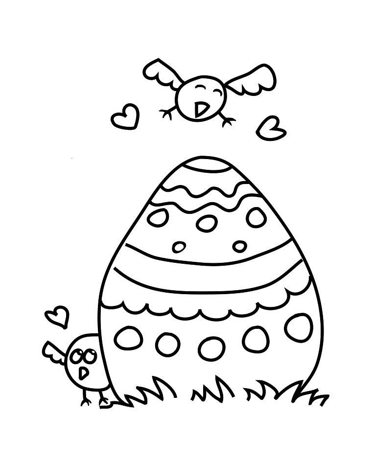 Disegni uova di Pasqua, uovo da colorare, disegno di un uccellino