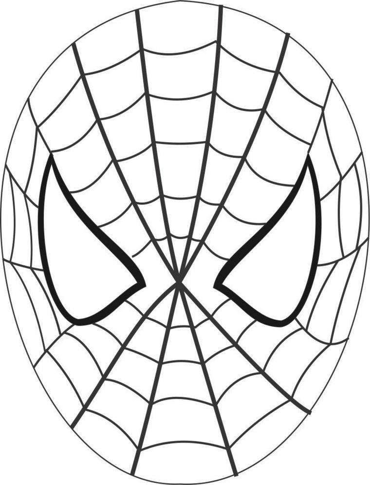 Maschere da ritagliare, disegno di Uomo Ragno, maschera di Spiderman