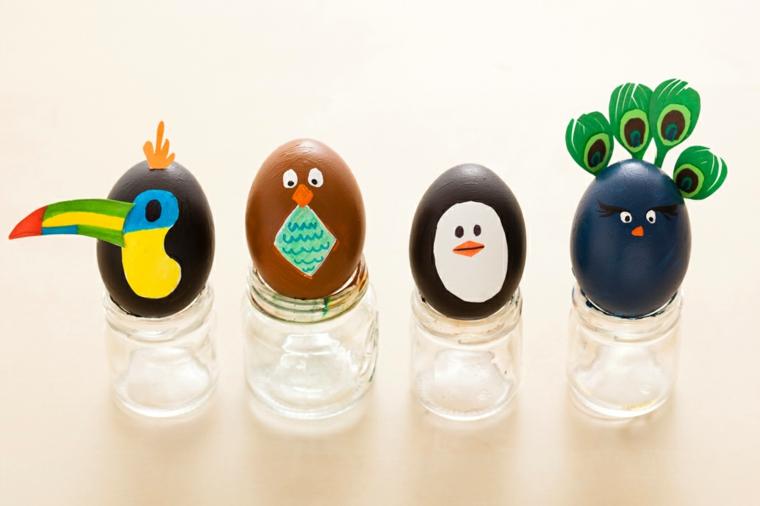 Lavoretti di pasqua scuola primaria, uova sode dipinte, barattoli di vetro