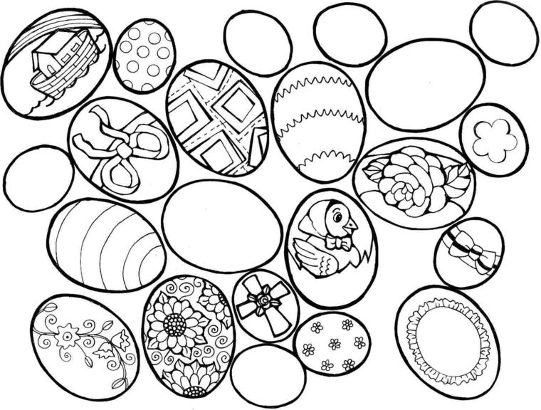 Uova pasquali, ovetti da colorare, uova di Pasqua con decorazioni