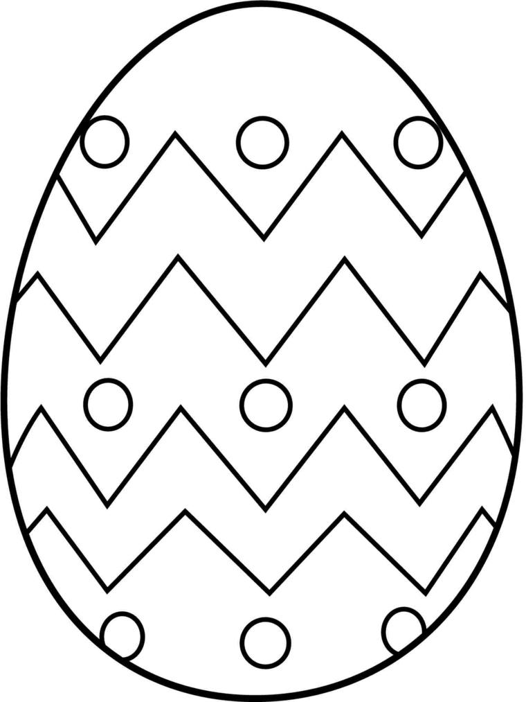 Disegni di Pasqua, uovo con disegni, forme geometriche da colorare