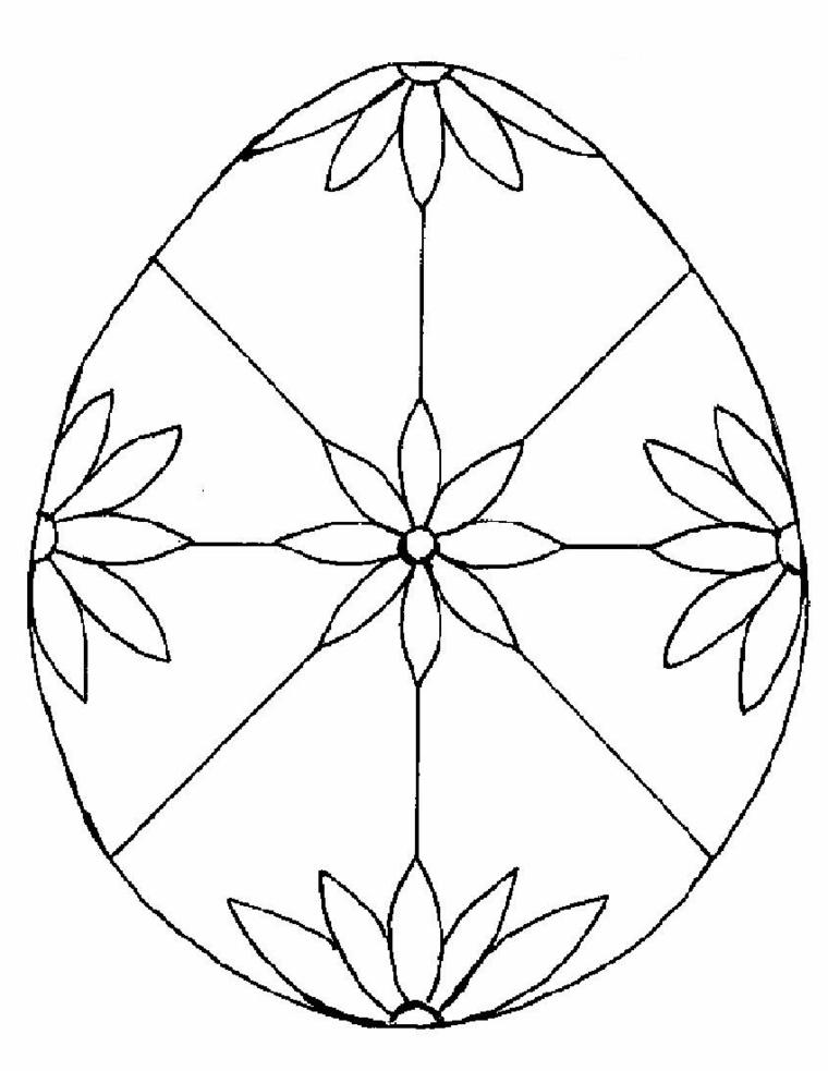 Uovo con fiori, disegno da colorare, uova di Pasqua da colorare