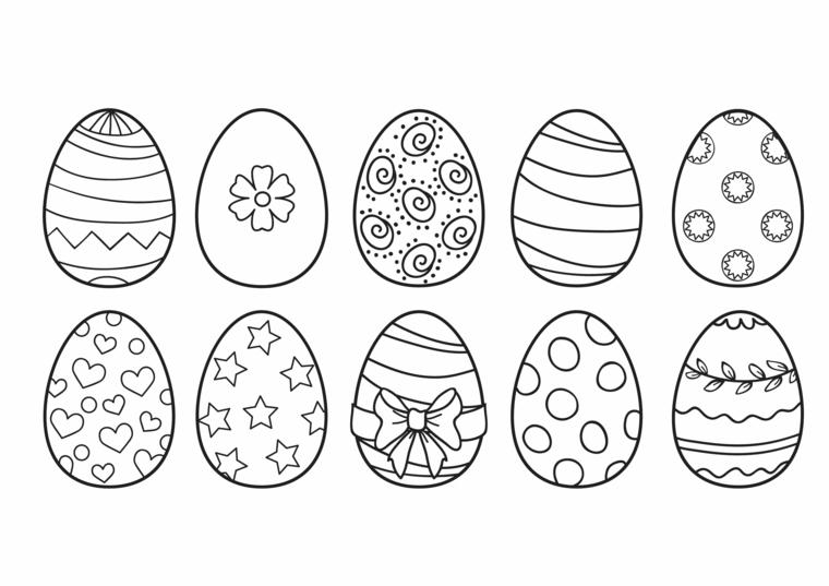 Decorazioni su uova di Pasqua, immagini da colorare