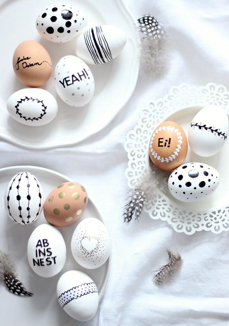 Idee per Pasqua, uova decorati, scritte su uova sode