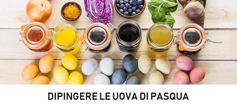 Barattoli di vetro, ingredienti per dipingere, uova colorate