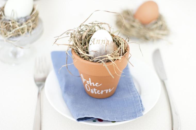 Lavoretti per Pasqua fai da te, vaso di terracotta, uovo con nome