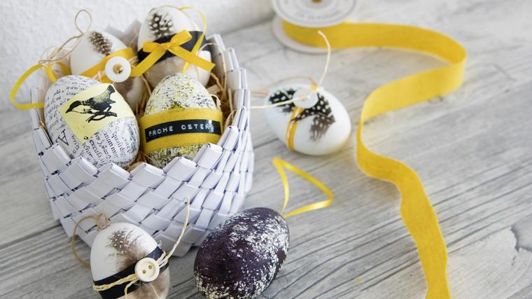 Lavoretti per Pasqua fai da te, cestino con uova, uova colorate