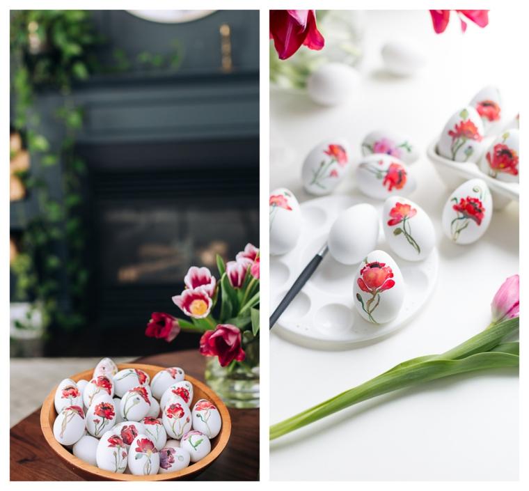 Decorazioni pasquali fai da te, uova dipinte con fiorellini, dipingere le uova