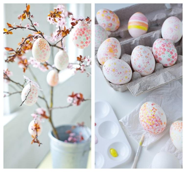 Lavoretti di pasqua fai da te, albero pasquale con uova, uova sode dipinte