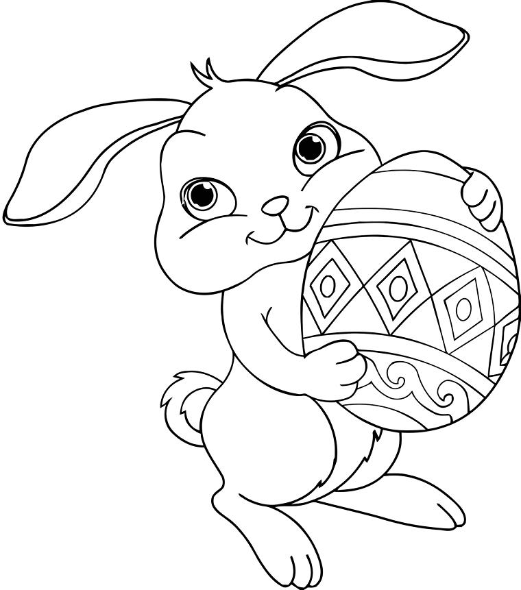 Coniglietto con uovo, uova di pasqua decorate
