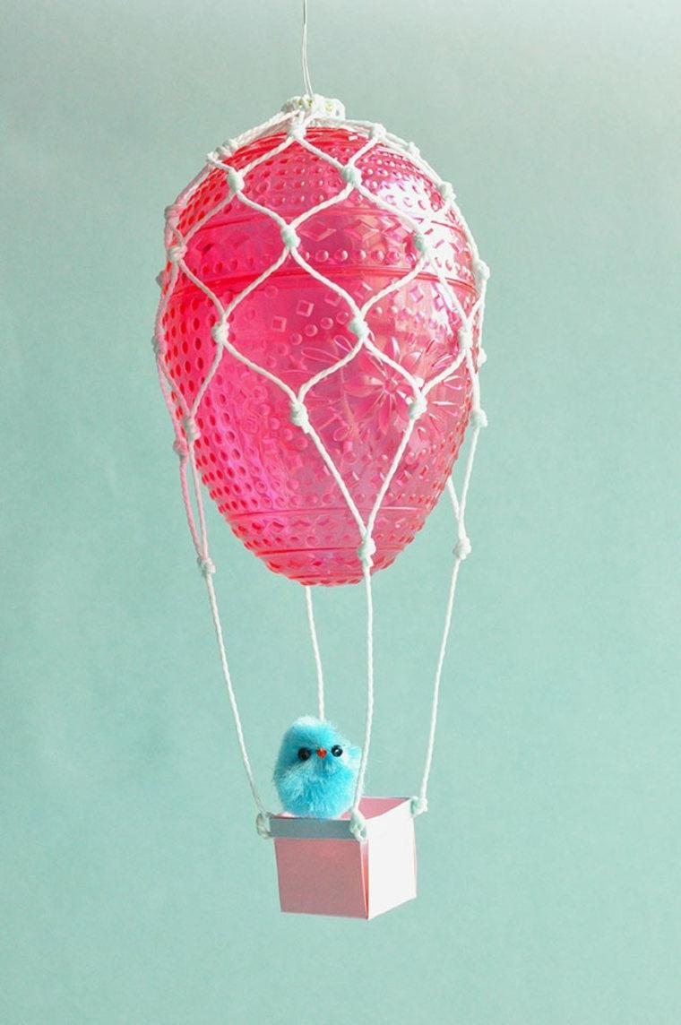 Mongolfiera con pallone rosa, decorazioni pasquali, lavoretti estivi per bambini