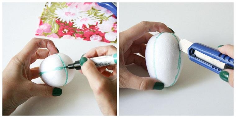 Lavoretti creativi Pasqua, uovo di polistirolo, dipingere un uovo con pennarello