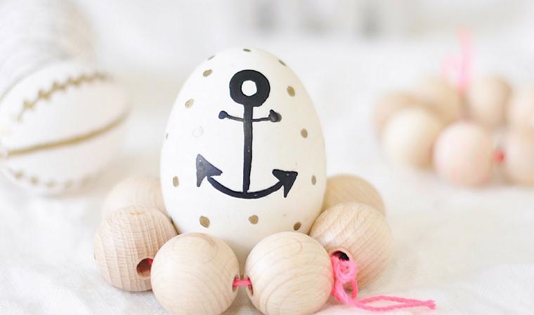Uovo con disegno ancora, uovo sodo, uova pasquali