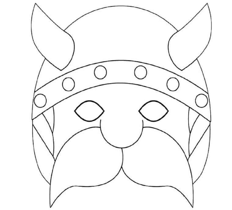 Disegni di carnevale, disegno di un vichingo, maschera per travestimento