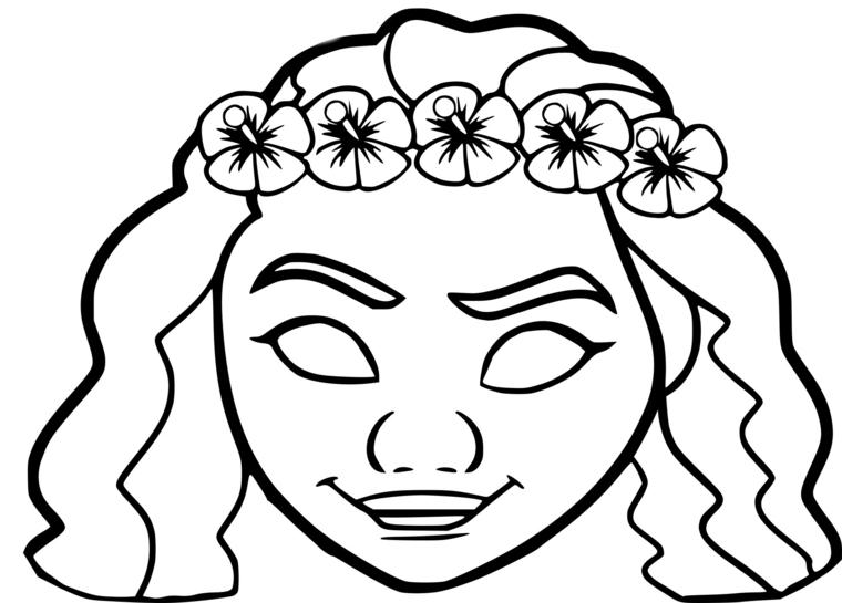 Maschere di carnevale per bambini, disegno di Vaiana, travestimento per bambine