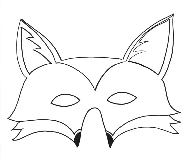 Maschere da colorare, disegno di una volpe, travestimento per bambini
