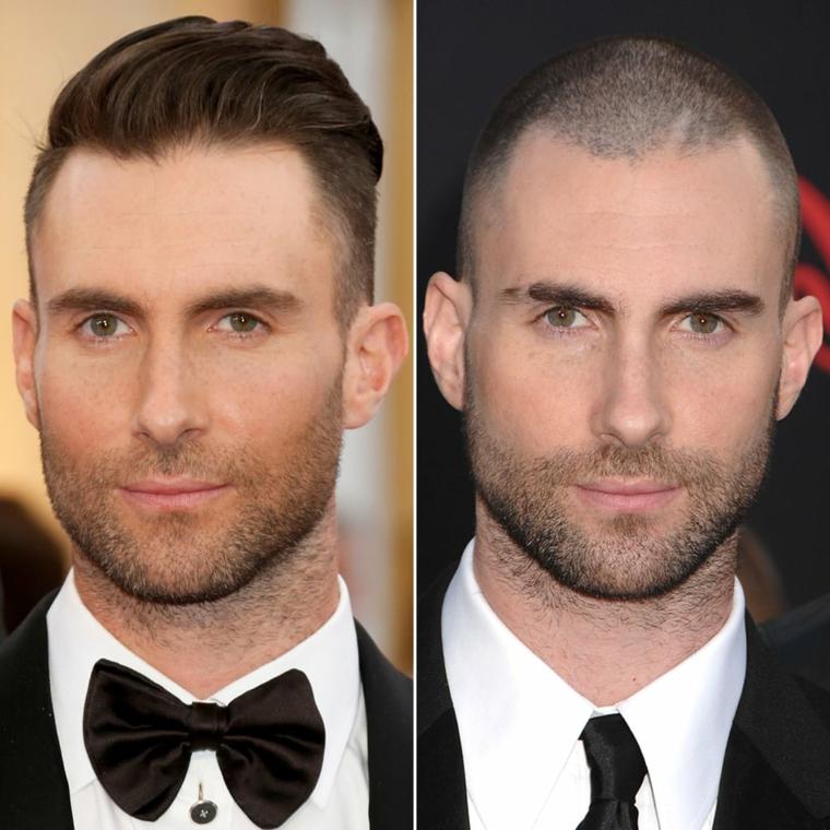 Il cantante Adam Levine, foto prima e dopo, taglio rasato uomo, uomo con barba