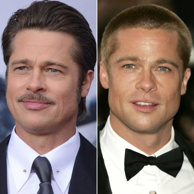 L'attore Brad Pitt, uomo con barba, capelli corti uomo rasati