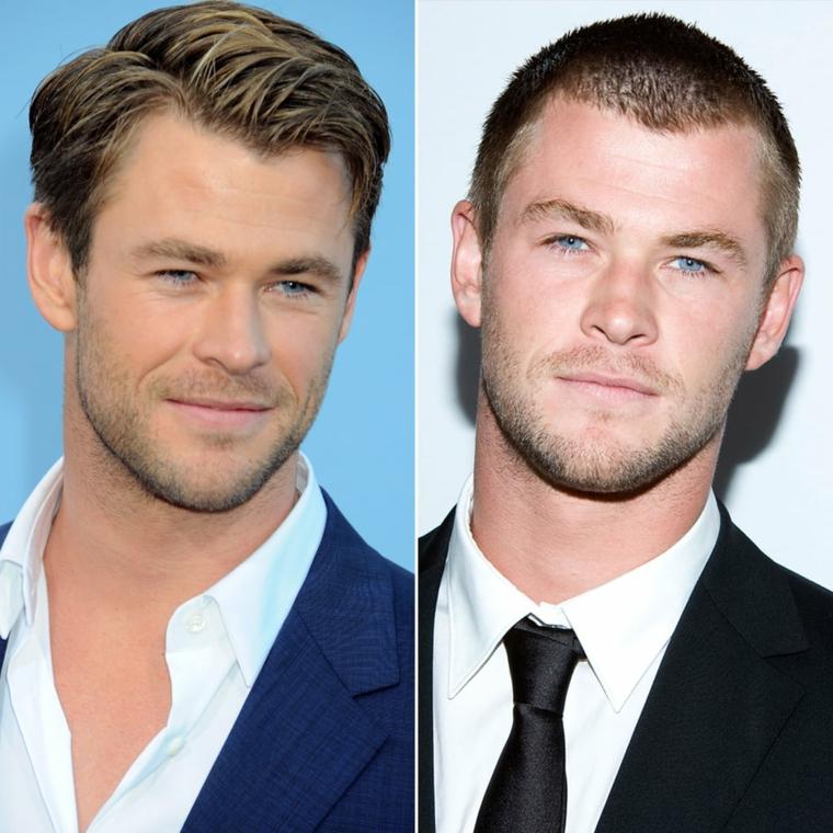 Uomo con occhi azzurri, l'attore Chris Hemsworth, pettinature uomo