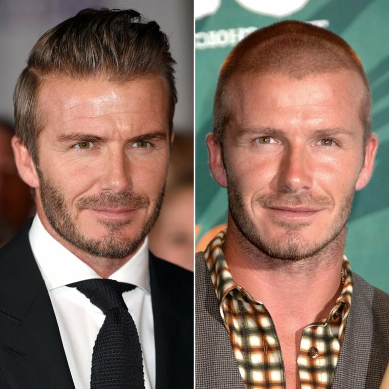 Il calciatore David Beckham, acconciatura pompadour, capelli rasati ai lati